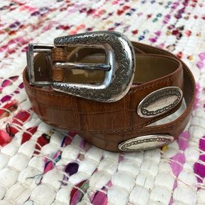 Fossil Brown Silver Buckle Studded Western Belt
